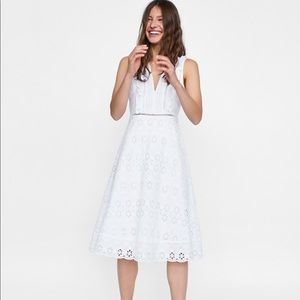 white Zara embroidered dress with cutwork detail